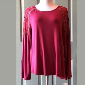 Fuchsia Chiffon Shoulder Stretch Top L/XL